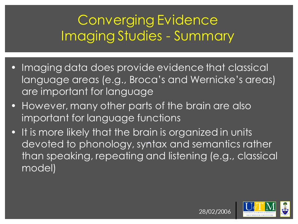28/02/2006 Converging Evidence Imaging Studies - Summary Imaging data does provide evidence that classical language areas (e.g., Broca's and Wernicke'