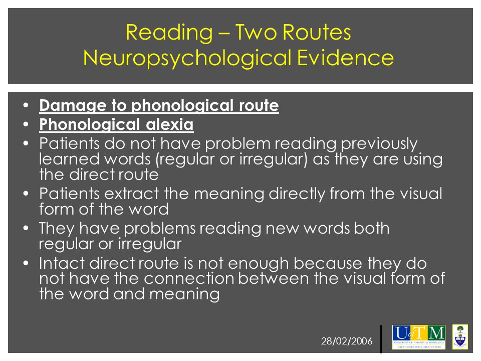 28/02/2006 Reading – Two Routes Neuropsychological Evidence Damage to phonological route Phonological alexia Patients do not have problem reading prev