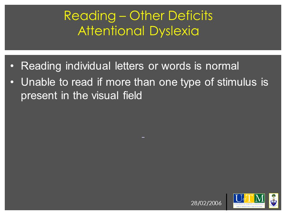 28/02/2006 Reading – Other Deficits Attentional Dyslexia Reading individual letters or words is normal Unable to read if more than one type of stimulu