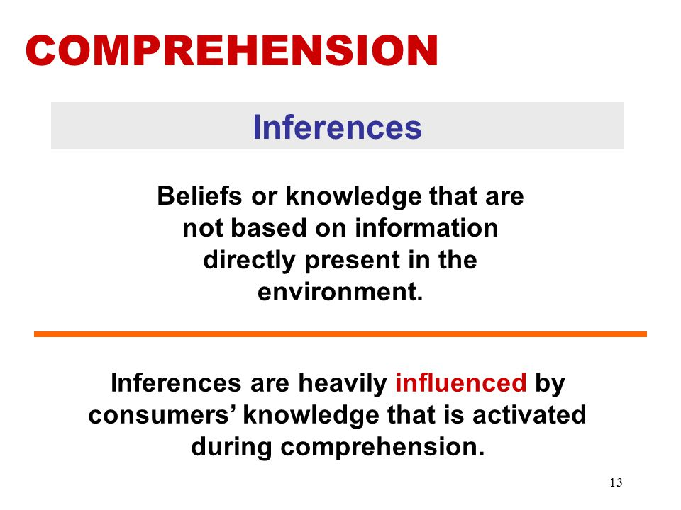 Inferences Beliefs or knowledge that are not based on information directly present in the environment.