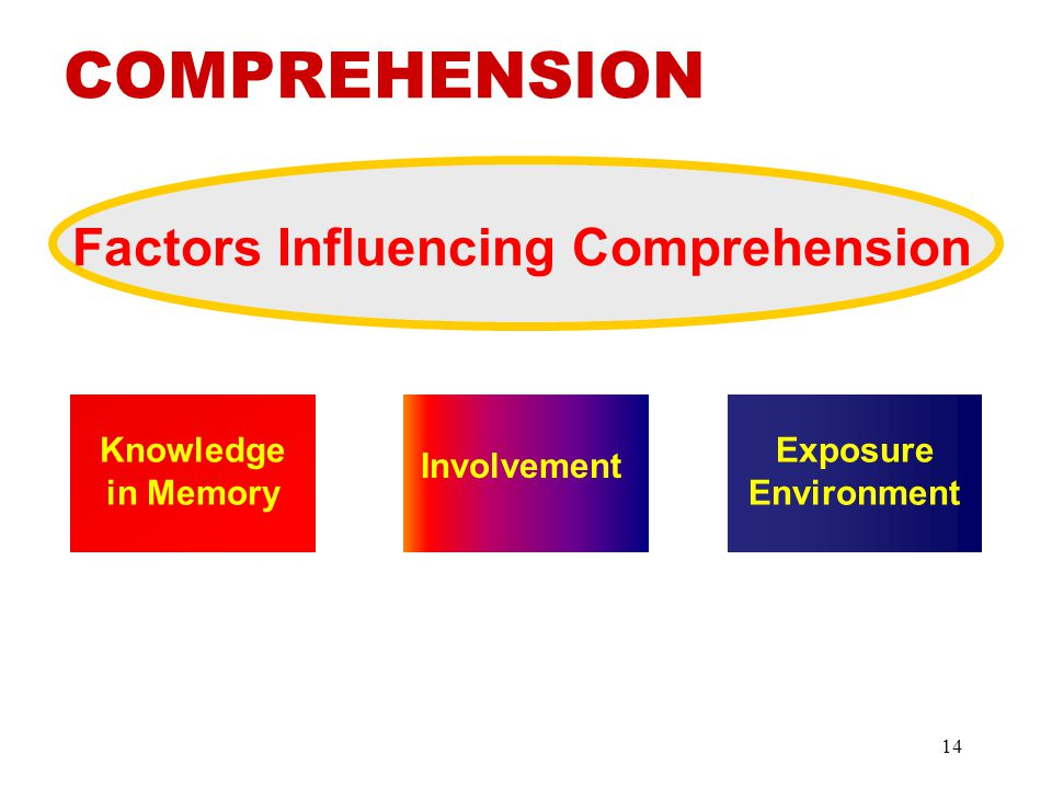 Factors Influencing Comprehension Involvement Exposure Environment Knowledge in Memory COMPREHENSION 14