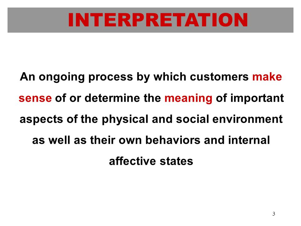 INTERPRETATION An ongoing process by which customers make sense of or determine the meaning of important aspects of the physical and social environment as well as their own behaviors and internal affective states 3