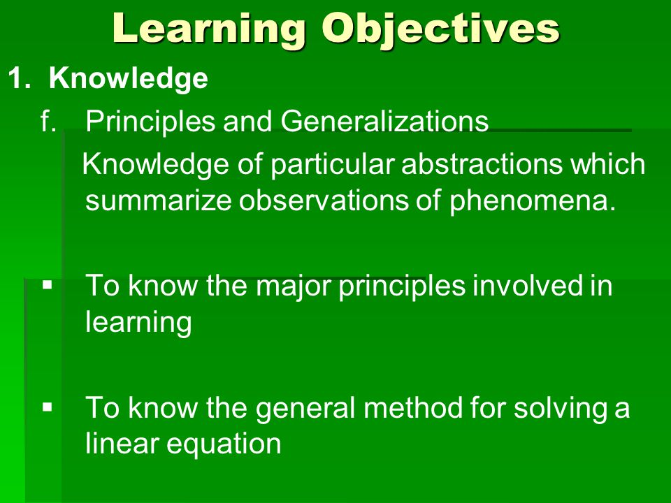 Learning Objectives 1. Knowledge f.