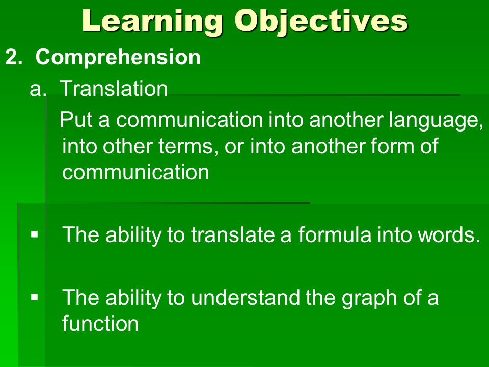 Learning Objectives 2. Comprehension a.