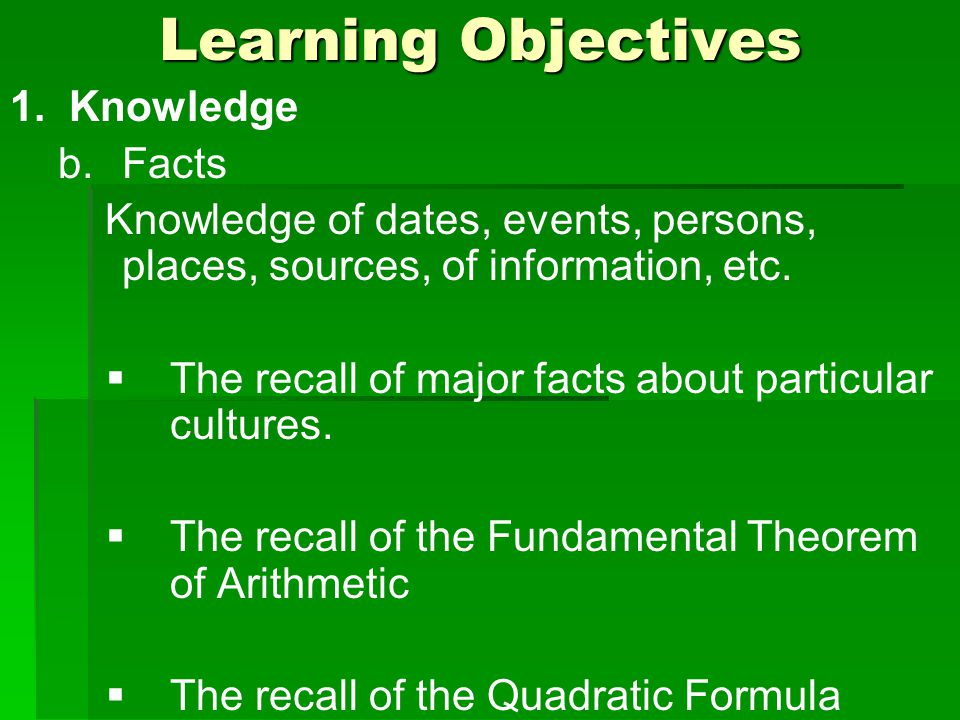 Learning Objectives 1. Knowledge b.