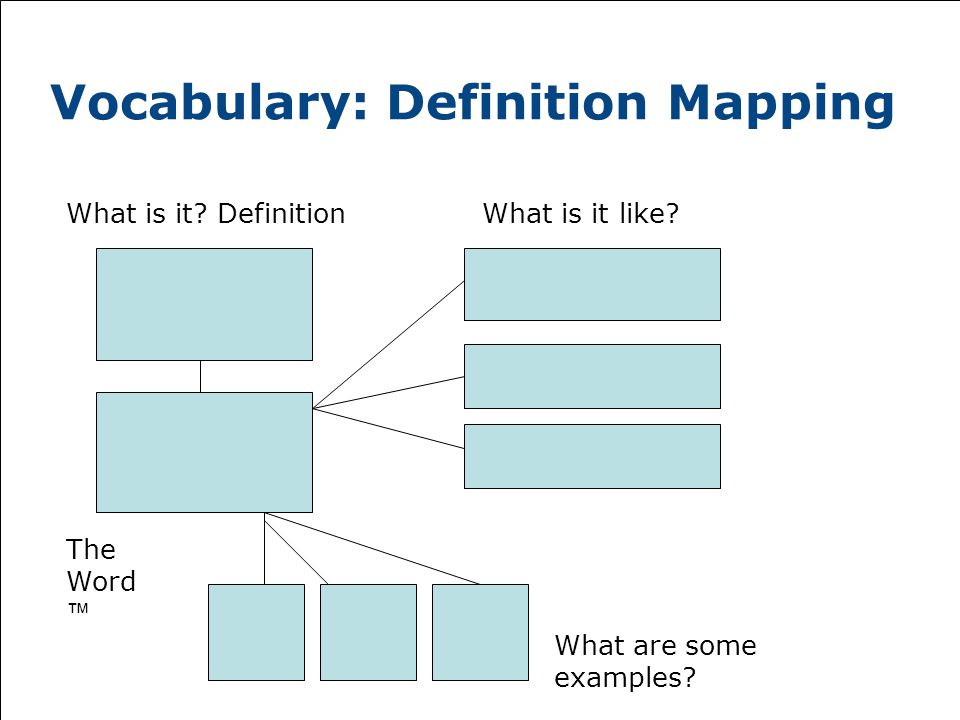 Vocabulary: Definition Mapping What is it. DefinitionWhat is it like.