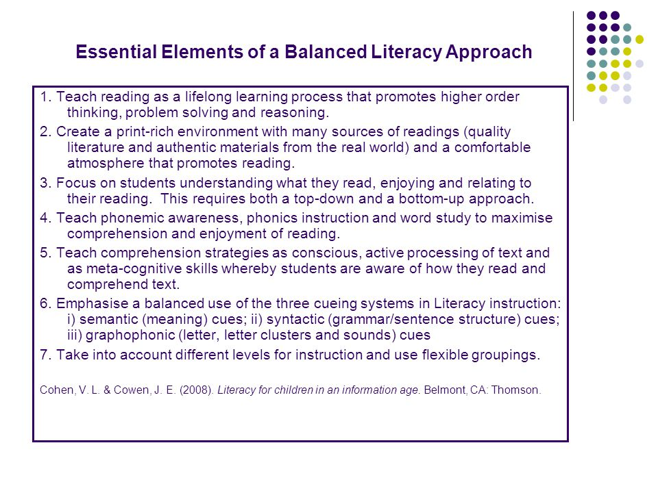 Essential Elements of a Balanced Literacy Approach 1.