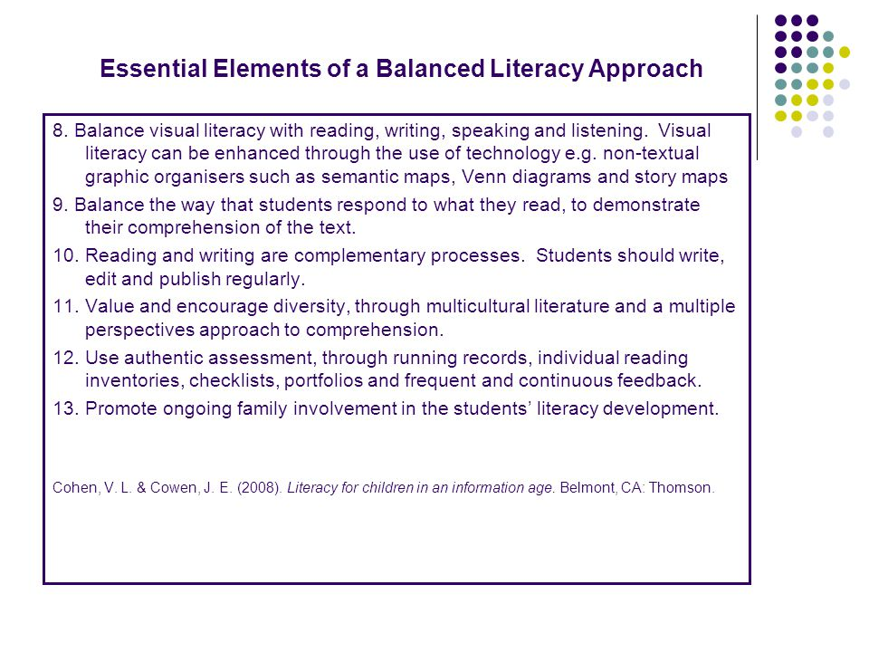 Essential Elements of a Balanced Literacy Approach 8. Balance visual literacy with reading, writing, speaking and listening. Visual literacy can be en