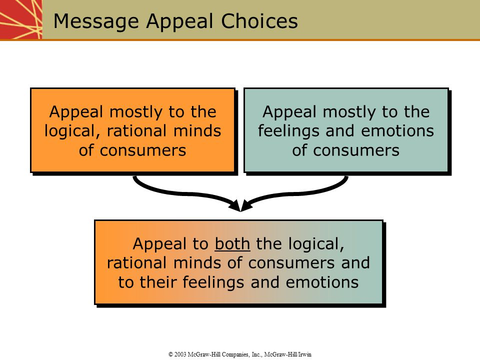 Appeal mostly to the logical, rational minds of consumers Message Appeal Choices © 2003 McGraw-Hill Companies, Inc., McGraw-Hill/Irwin Appeal to both the logical, rational minds of consumers and to their feelings and emotions Appeal mostly to the feelings and emotions of consumers