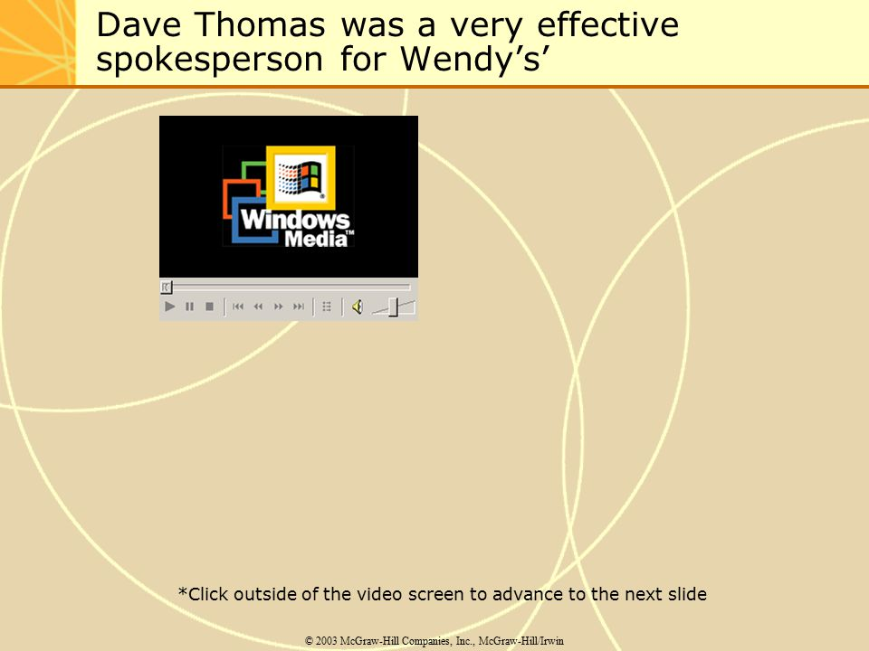 Dave Thomas was a very effective spokesperson for Wendy's' © 2003 McGraw-Hill Companies, Inc., McGraw-Hill/Irwin *Click outside of the video screen to advance to the next slide