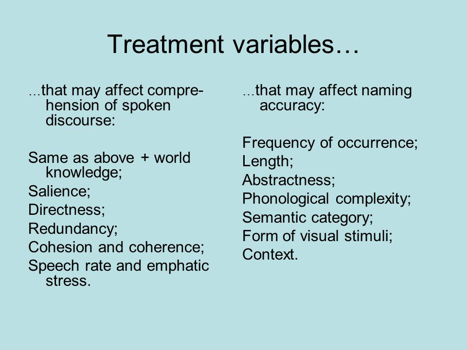 Treatment variables… … that may affect compre- hension of spoken discourse: Same as above + world knowledge; Salience; Directness; Redundancy; Cohesion and coherence; Speech rate and emphatic stress.