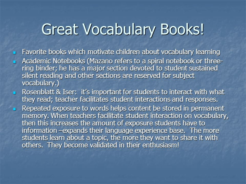 Great Vocabulary Books.