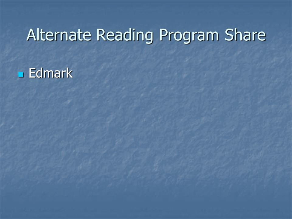 Alternate Reading Program Share Edmark Edmark