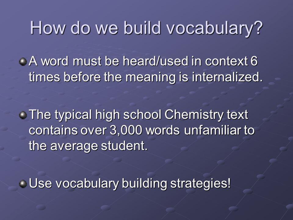 How do we build vocabulary.
