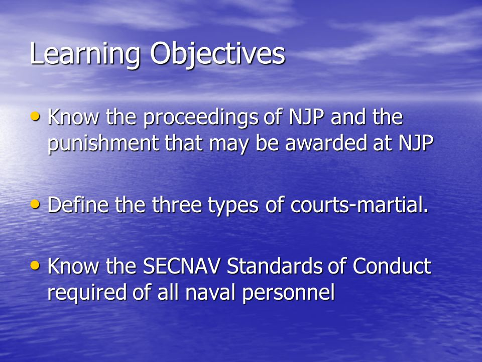 Procedure for NJP Mast Mast - Accused has right to make statement, present witnesses in defense - CO determines guilt/innocence and amount/type of punishment - CO weighs findings of IO, evidence, extenuating circumstances, etc.