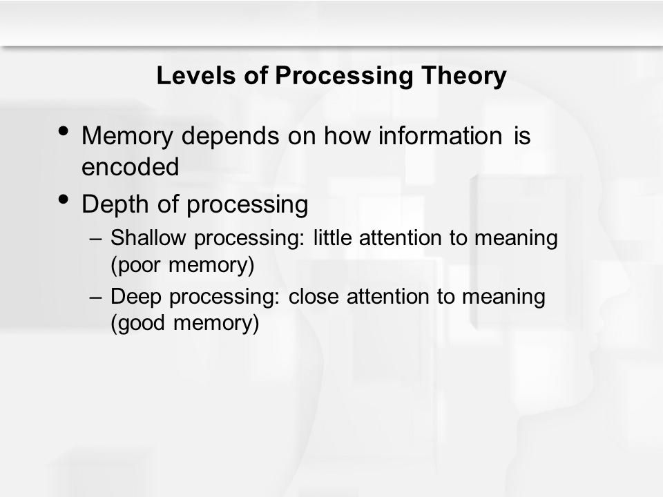 Encoding Specificity We learn information together with its context Baddeley's (1975) diving experiment –Best recall occurred when encoding and retrieval occurred in the same location