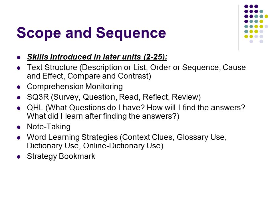 Scope and Sequence Skills Introduced in later units (2-25): Text Structure (Description or List, Order or Sequence, Cause and Effect, Compare and Cont