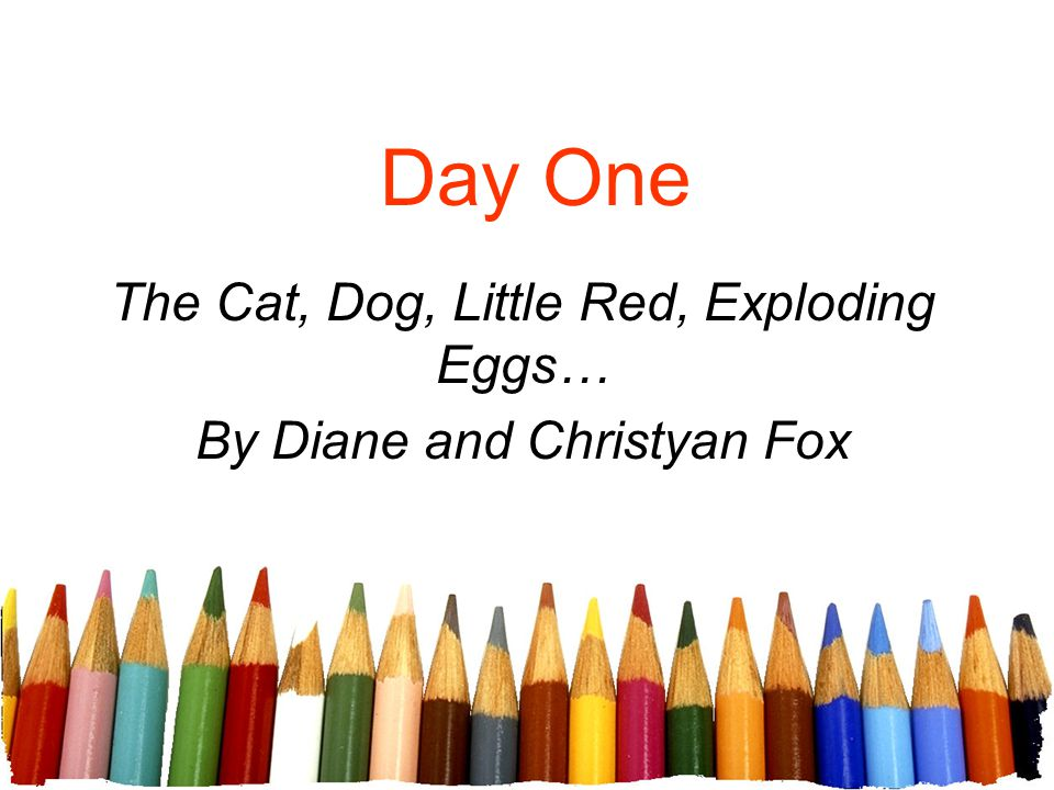 Day One The Cat, Dog, Little Red, Exploding Eggs… By Diane and Christyan Fox