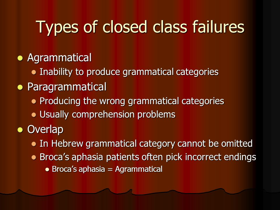 Types of closed class failures Agrammatical Agrammatical Inability to produce grammatical categories Inability to produce grammatical categories Paragrammatical Paragrammatical Producing the wrong grammatical categories Producing the wrong grammatical categories Usually comprehension problems Usually comprehension problems Overlap Overlap In Hebrew grammatical category cannot be omitted In Hebrew grammatical category cannot be omitted Broca's aphasia patients often pick incorrect endings Broca's aphasia patients often pick incorrect endings Broca's aphasia = Agrammatical Broca's aphasia = Agrammatical