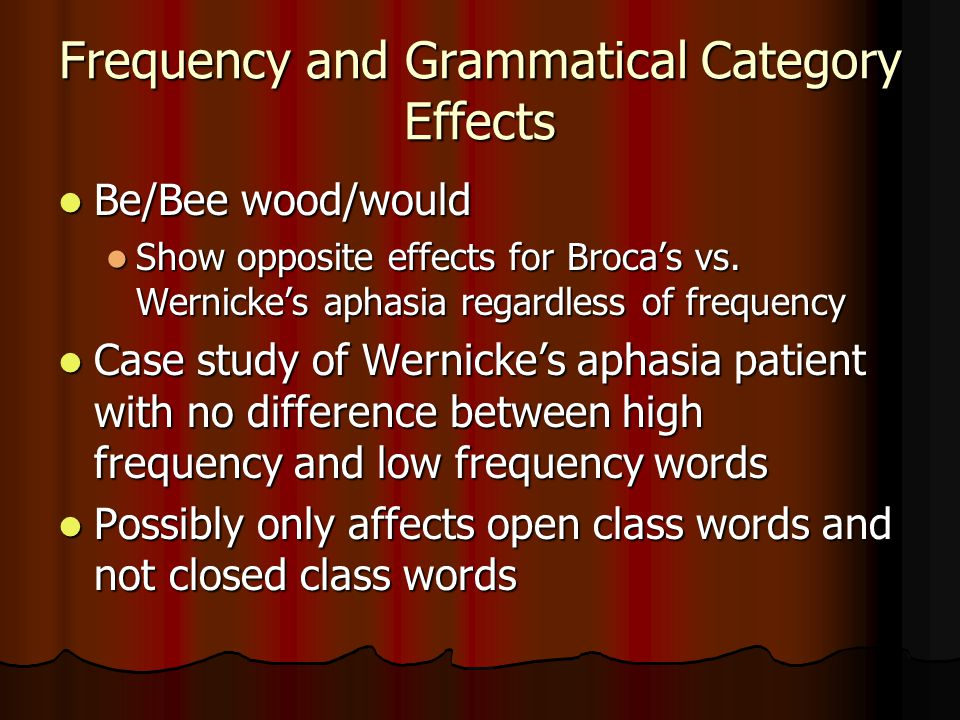 Frequency and Grammatical Category Effects Be/Bee wood/would Be/Bee wood/would Show opposite effects for Broca's vs.