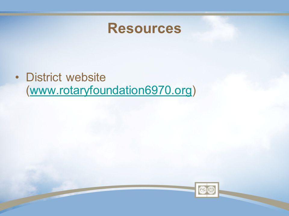 District website (www.rotaryfoundation6970.org)www.rotaryfoundation6970.org Resources