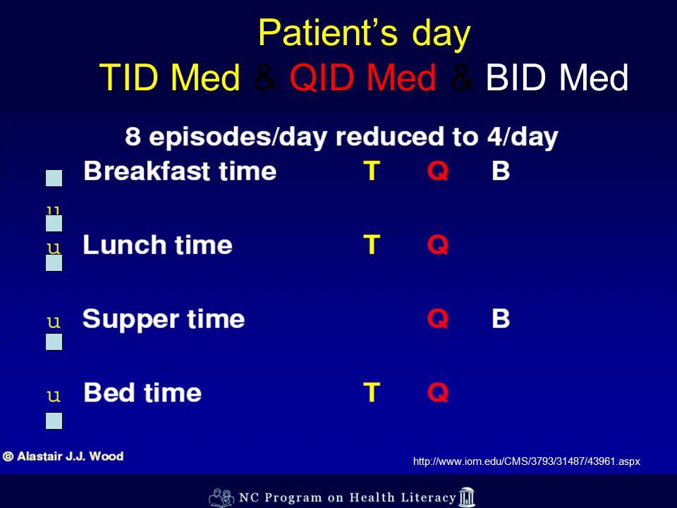 Patient's day TID Med & QID Med & BID Med http://www.iom.edu/CMS/3793/31487/43961.aspx