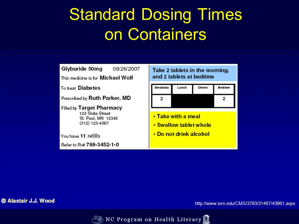 Standard Dosing Times on Containers http://www.iom.edu/CMS/3793/31487/43961.aspx