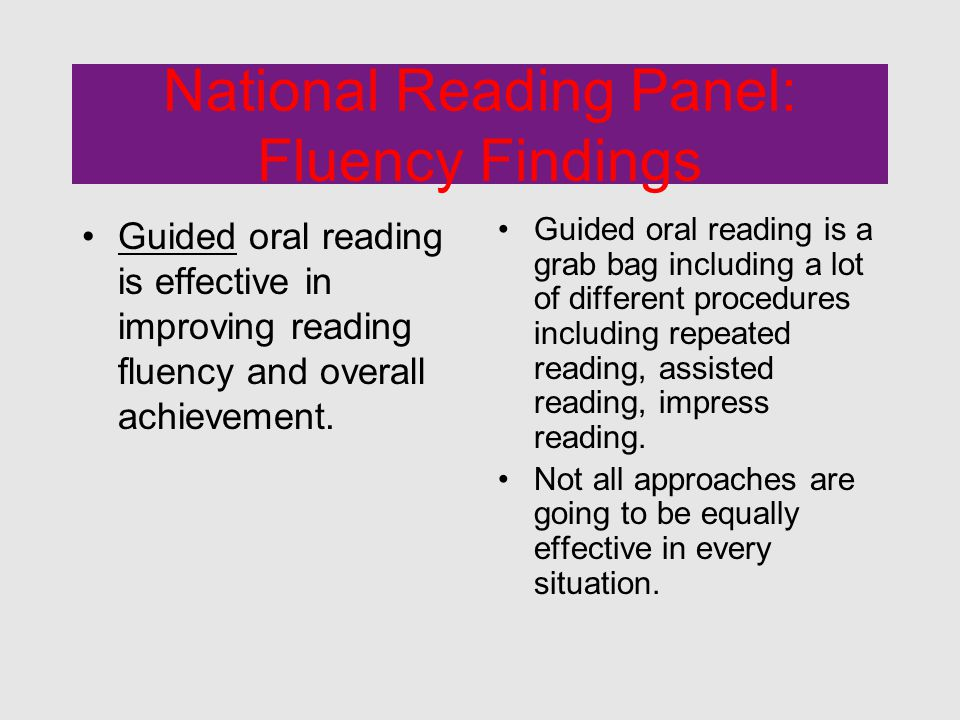 National Reading Panel: Fluency Findings Guided oral reading is effective in improving reading fluency and overall achievement.