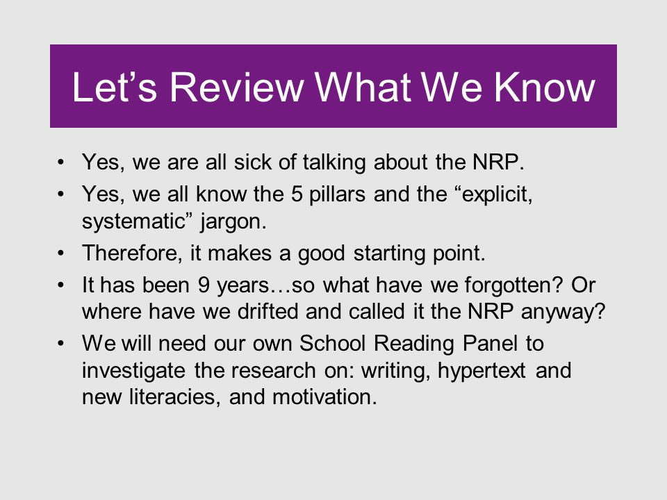 Clarification on NRP Recommendations Monitoring-Young children can begin to be accountable for the semantic, syntactic, pragmatic and graphic acceptability of their independent text reading.
