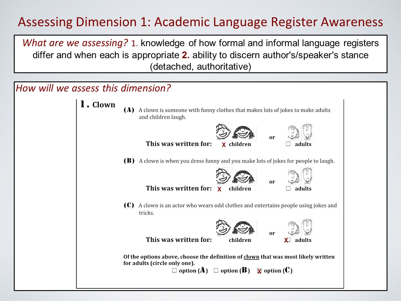 Assessing Dimension 1: Academic Language Register Awareness How will we assess this dimension.