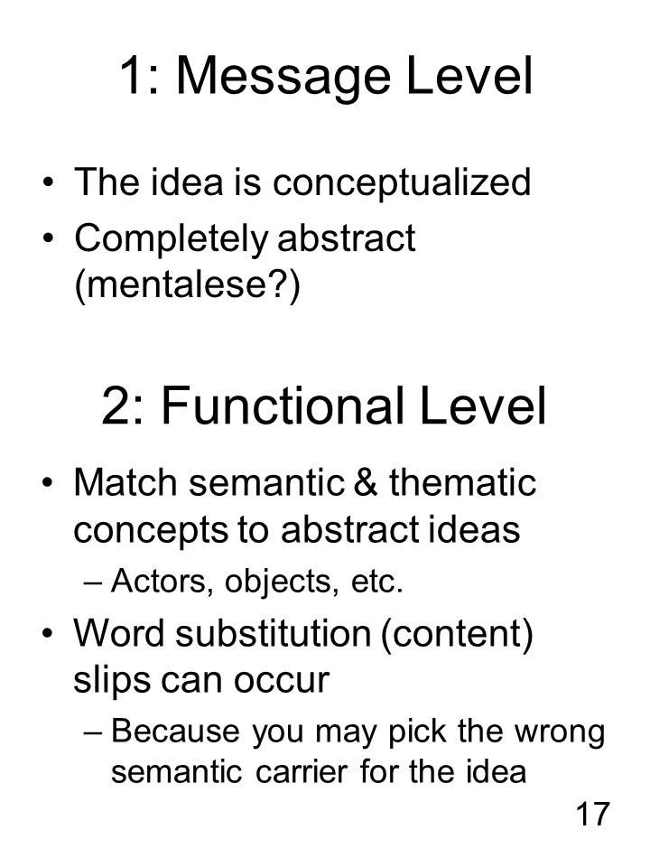 17 1: Message Level The idea is conceptualized Completely abstract (mentalese ) 2: Functional Level Match semantic & thematic concepts to abstract ideas –Actors, objects, etc.