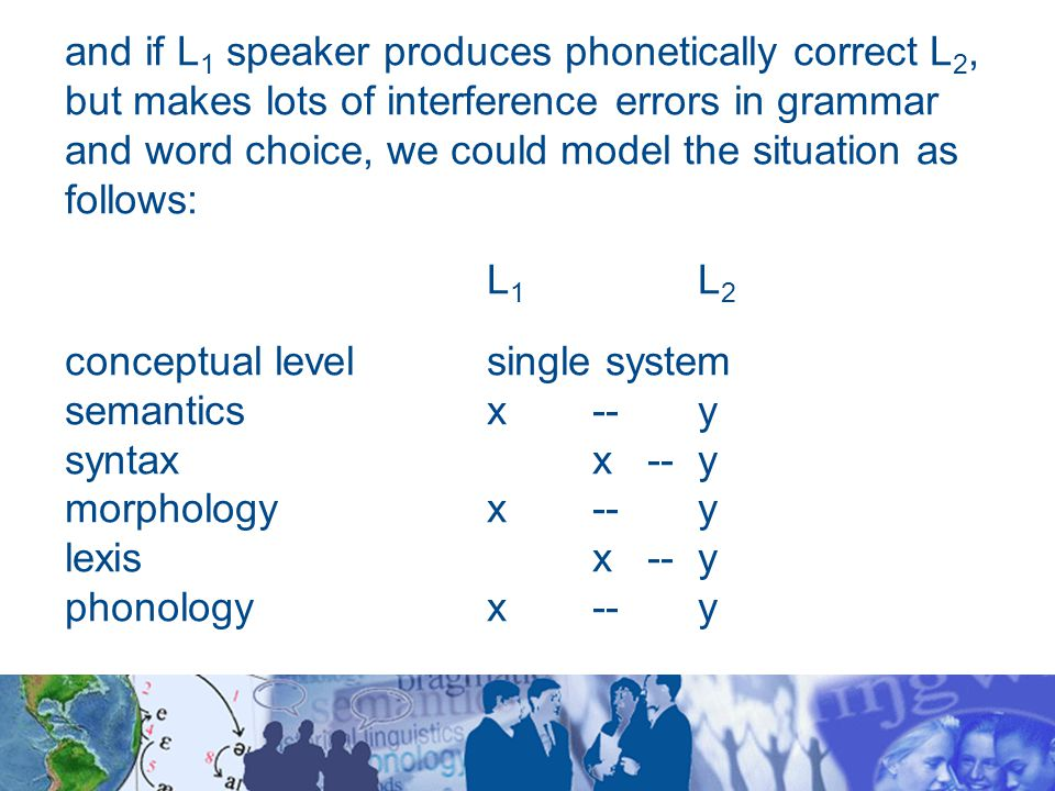 and if L 1 speaker produces phonetically correct L 2, but makes lots of interference errors in grammar and word choice, we could model the situation as follows: L 1 L 2 conceptual levelsingle system semanticsx --y syntaxx --y morphologyx--y lexis x --y phonologyx --y