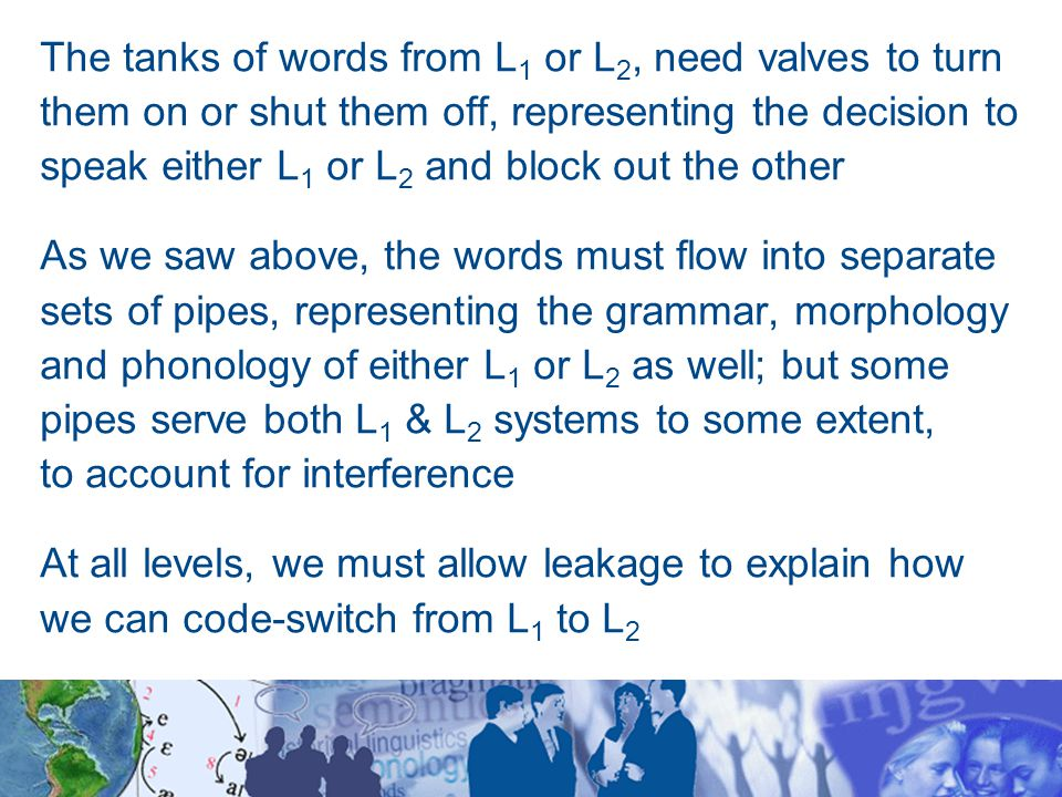 The tanks of words from L 1 or L 2, need valves to turn them on or shut them off, representing the decision to speak either L 1 or L 2 and block out the other As we saw above, the words must flow into separate sets of pipes, representing the grammar, morphology and phonology of either L 1 or L 2 as well; but some pipes serve both L 1 & L 2 systems to some extent, to account for interference At all levels, we must allow leakage to explain how we can code-switch from L 1 to L 2