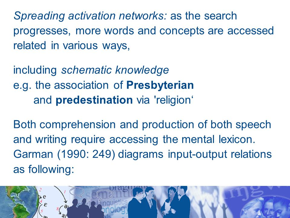 Spreading activation networks: as the search progresses, more words and concepts are accessed related in various ways, including schematic knowledge e.g.