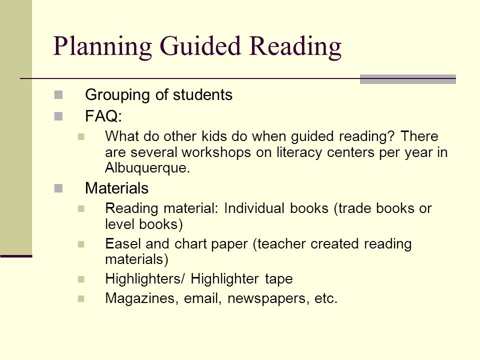 Planning Guided Reading Grouping of students FAQ: What do other kids do when guided reading.