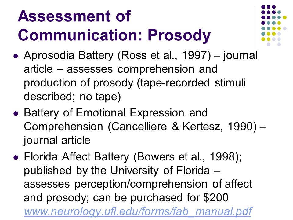 Assessment of Communication: Prosody Aprosodia Battery (Ross et al., 1997) – journal article – assesses comprehension and production of prosody (tape-