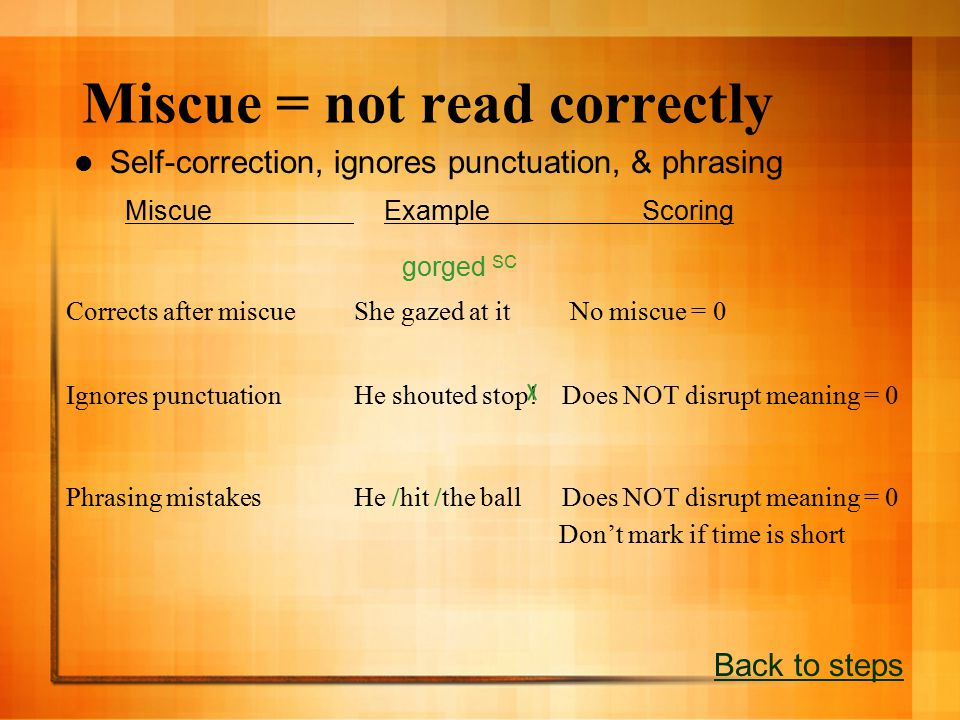 Miscue = not read correctly Self-correction, ignores punctuation, & phrasing Back to steps Miscue ExampleScoring gorged SC Corrects after miscueShe gazed at it No miscue = 0 Ignores punctuationHe shouted stop.