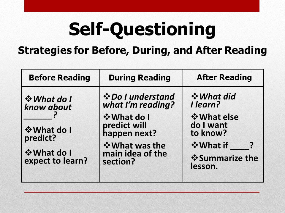 Self-Questioning Strategies for Before, During, and After Reading Before Reading  What do I know about ______.