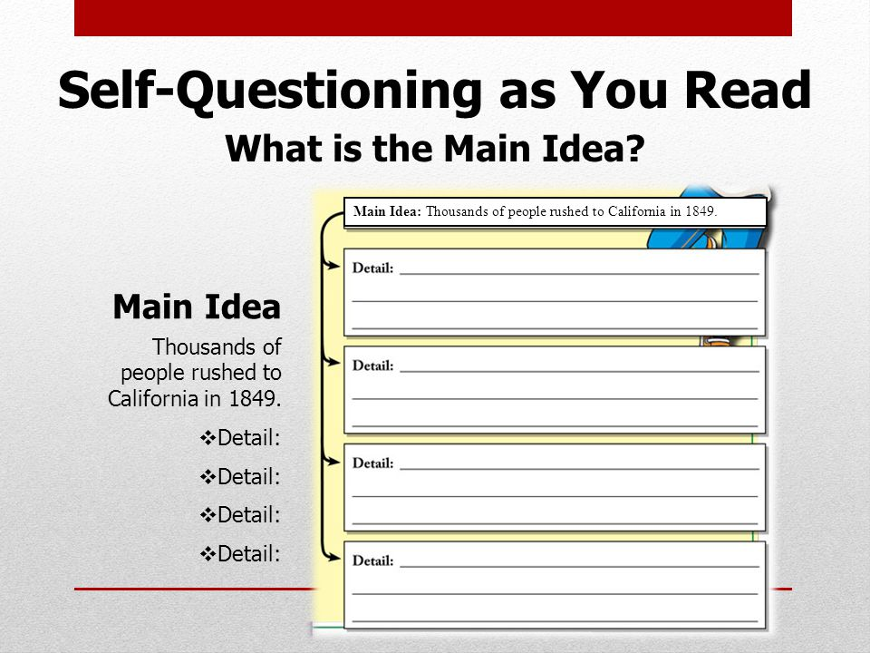 Self-Questioning as You Read What is the Main Idea.