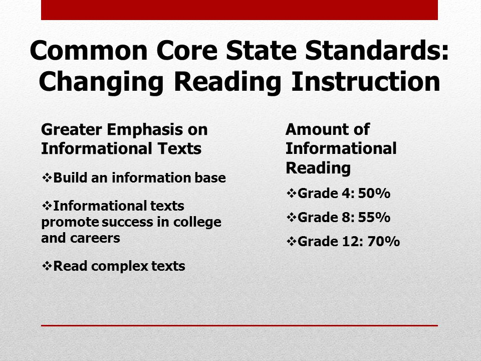 Common Core State Standards: Changing Reading Instruction Greater Emphasis on Informational Texts  Build an information base  Informational texts promote success in college and careers  Read complex texts Amount of Informational Reading  Grade 4:50%  Grade 8:55%  Grade 12: 70%
