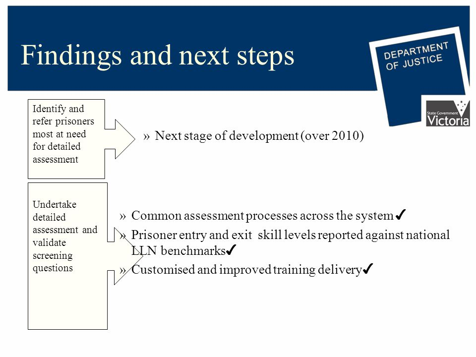 Findings and next steps Identify and refer prisoners most at need for detailed assessment Undertake detailed assessment and validate screening questions »Next stage of development (over 2010) »Common assessment processes across the system ✔ »Prisoner entry and exit skill levels reported against national LLN benchmarks ✔ »Customised and improved training delivery ✔