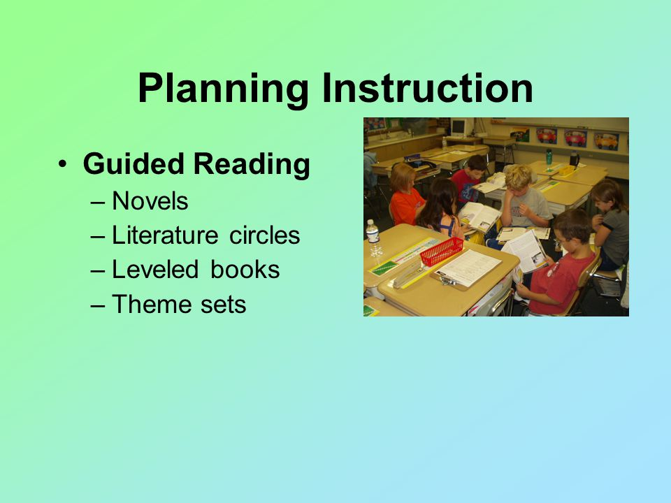 Planning Instruction Guided Reading –Novels –Literature circles –Leveled books –Theme sets