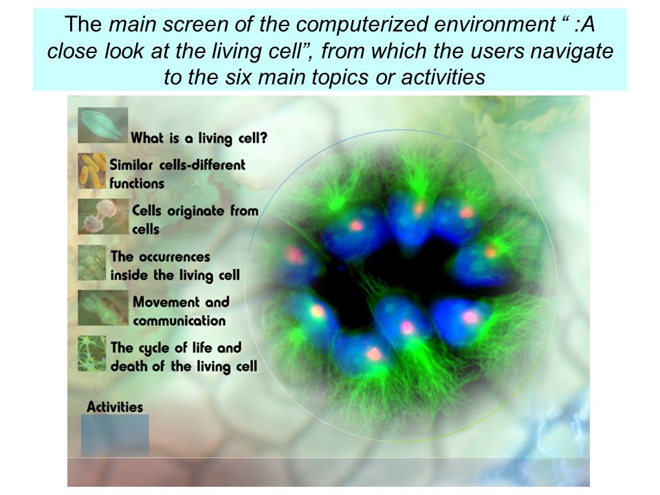 The main screen of the computerized environment : A close look at the living cell , from which the users navigate to the six main topics or activities