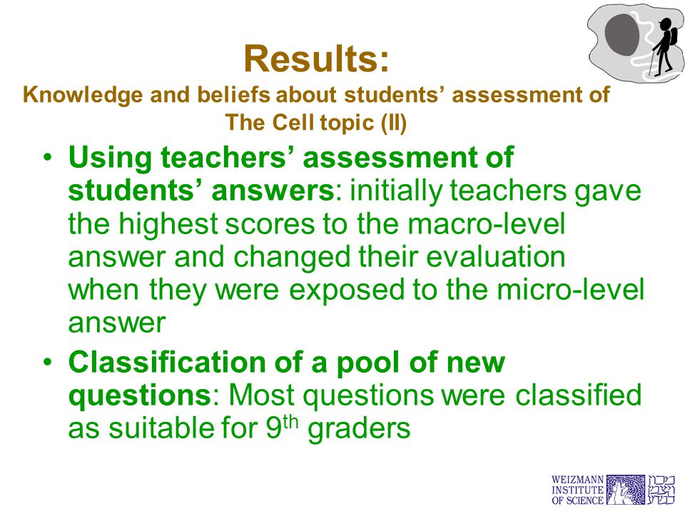 Results: Knowledge and beliefs about students' assessment of The Cell topic (II) Using teachers' assessment of students' answers: initially teachers g