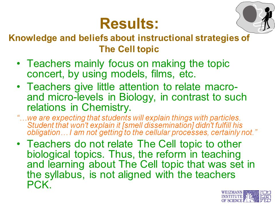 Results: Knowledge and beliefs about instructional strategies of The Cell topic Teachers mainly focus on making the topic concert, by using models, fi