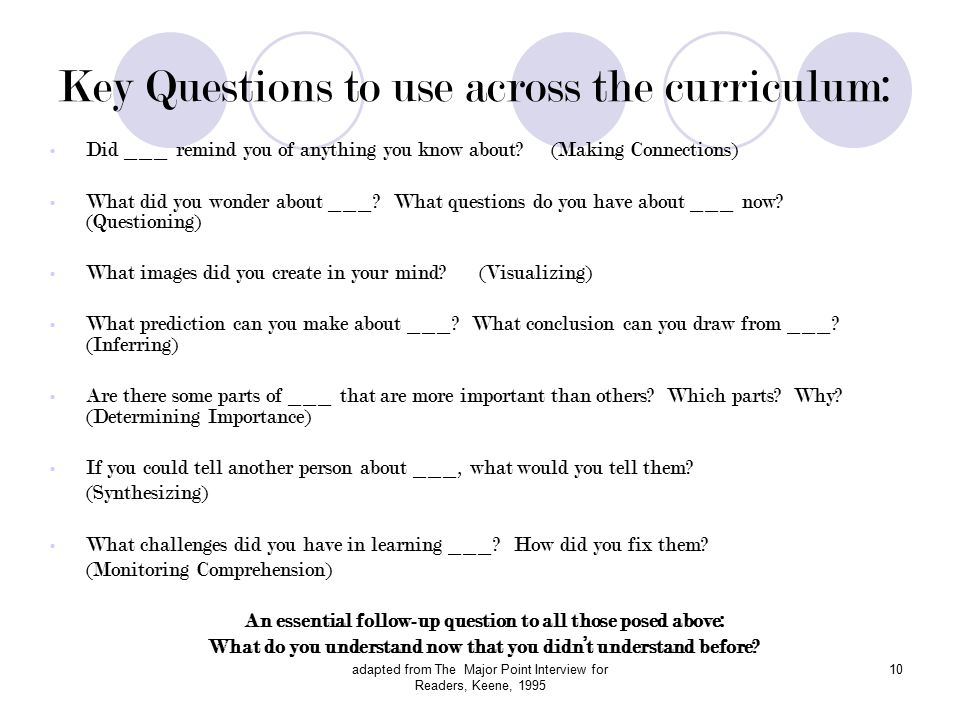 adapted from The Major Point Interview for Readers, Keene, 1995 10 Key Questions to use across the curriculum: Did ___ remind you of anything you know about.