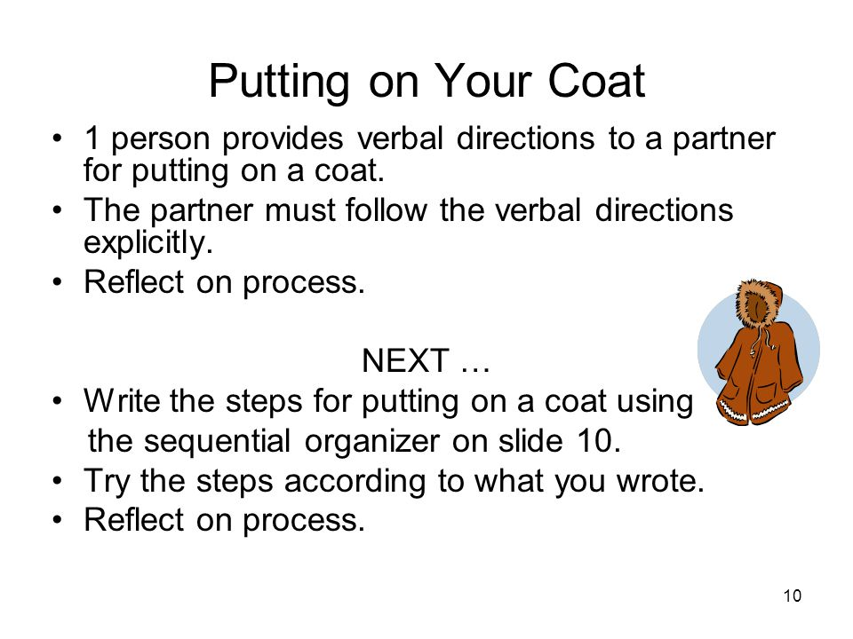 11 Graphic Organizer for Putting on Your Coat FirstNextThenLaterFinally 12345