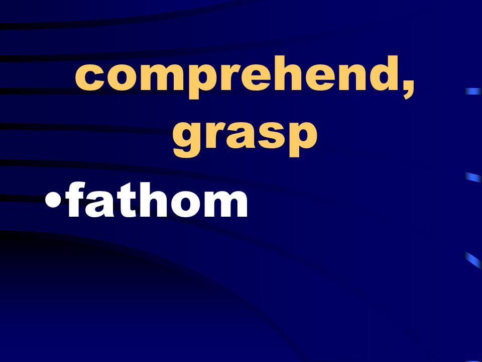 comprehend, grasp fathom