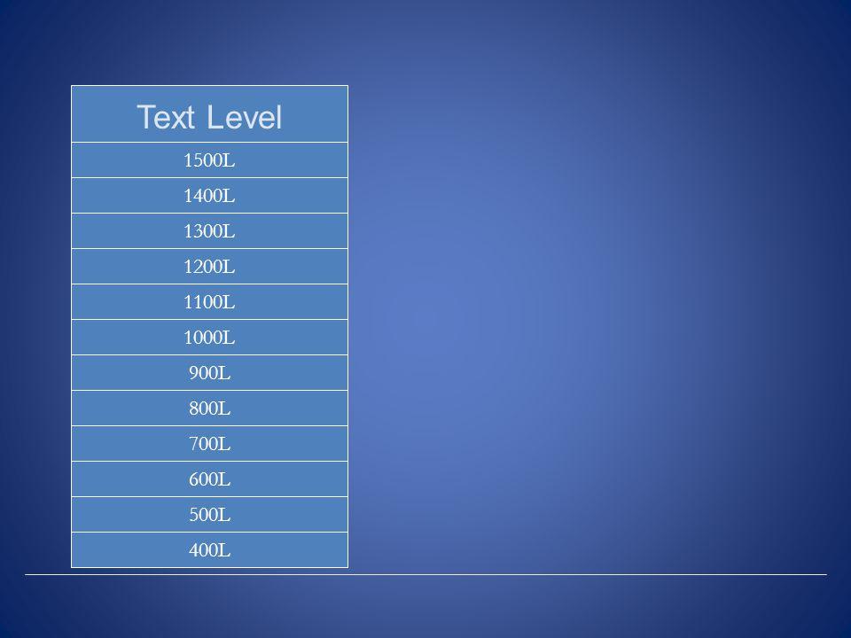 1500L 500L 600L 700L 800L 900L 1000L 1100L 1200L 1300L 1400L Text Level 400L