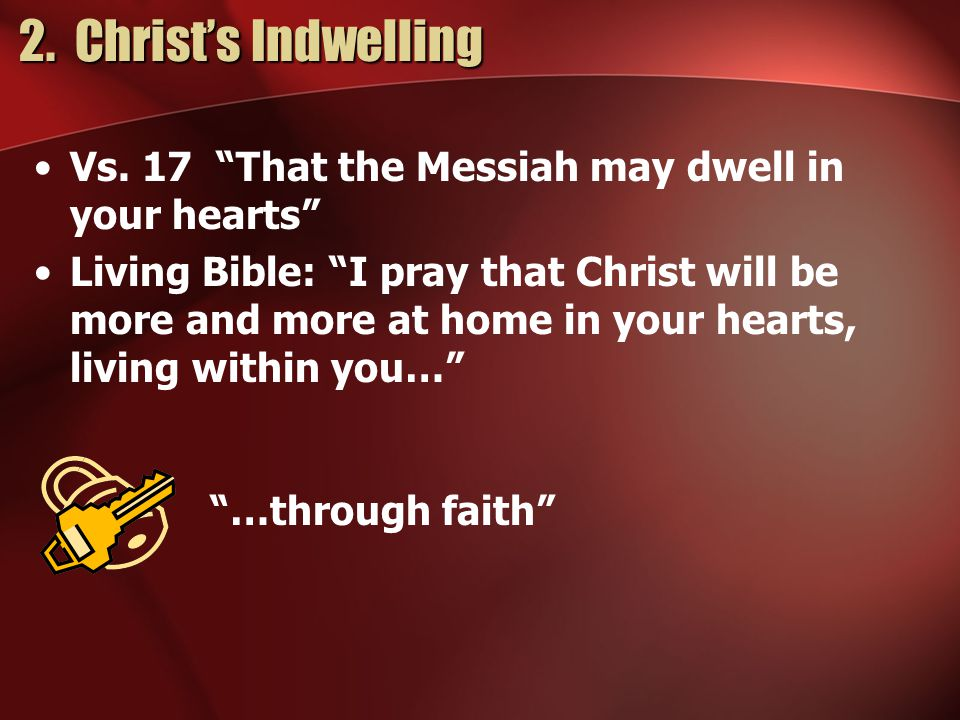 2. Christ's Indwelling 2. Christ's Indwelling Vs.